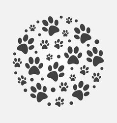 Dark dog footprints round concept vector