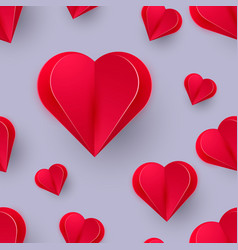 decorative 3d red hearts on red background with vector image