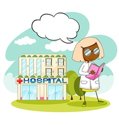 Doctor working at the hospital vector image