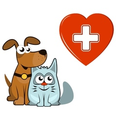 Dog and cat with medical heart and cross vector