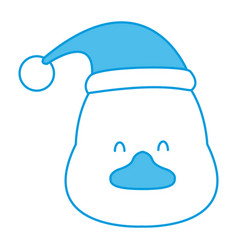 Duck with santa hat vector