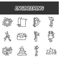 Engineering flat icons set vector