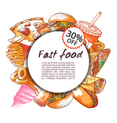 Fast food round banner on white background vector