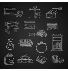 Finance business and money chalk icons vector
