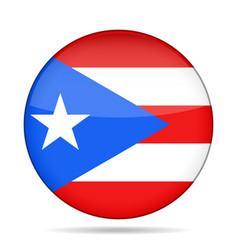 Flag of puerto rico shiny round button vector