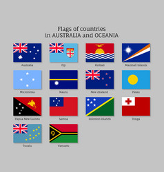 Flags countries australia and oceania flat style vector