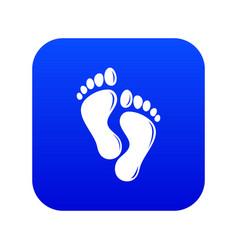Footprints icon blue vector
