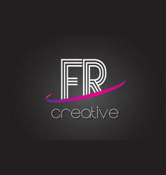 fr f r letter logo with lines design and purple vector image