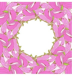 Frame made of pink magnolia soulangeana flowers vector