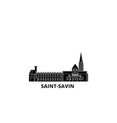 France saint savin flat travel skyline set vector