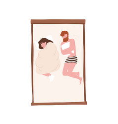 Funny young couple on comfy bed romantic partners vector