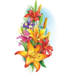 Garland of lilies and irises flowers vector