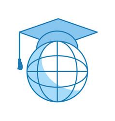globe and graduation cap vector image