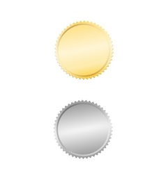 Gold and silver seal or badge vector image