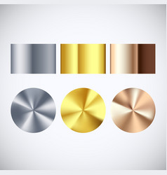 golden silver and bronze radial gradient set vector image