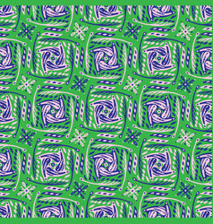 green and purple abstract doodle grid shapes vector image