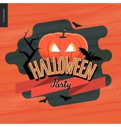 Halloween Party lettering and a jack-o-lantern vector image