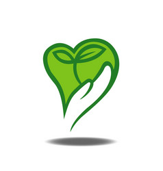 Hand holding plant logo vector
