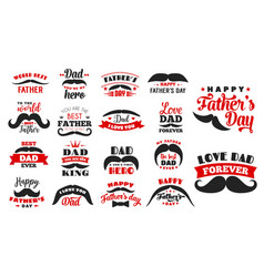 happy fathers day holiday icons vector image