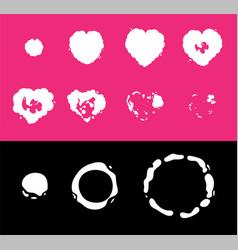 Heart explosion storyboard animation sprite set vector