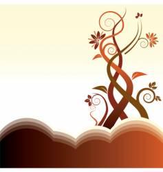 hills floral vector image