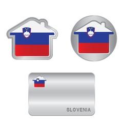 Home icon on the Slovenia flag vector