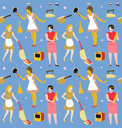 Housewife retro woman seamless pattern vector