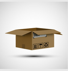 Icon open cardboard box cargo delivery vector
