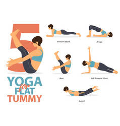 Infographic 5 yoga poses for flat tummy vector