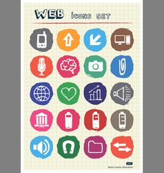 Internet and media icons set drawn by chalk vector image