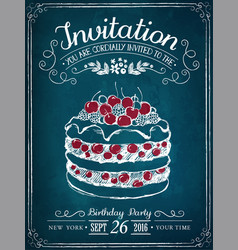 invitation card to event or birthday retro vector image