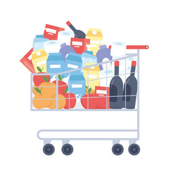 Isolated shopping cart with products design vector