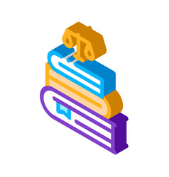 Justice books law and judgement isometric icon vector