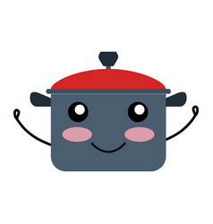 Kitchen pot kawai character vector