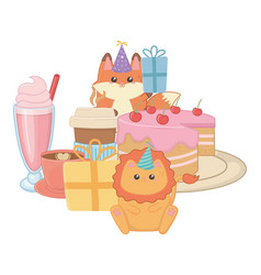 Lion and fox in happy birthday celebration vector