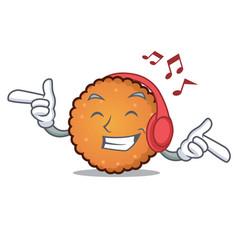 Listening music cookies mascot cartoon style vector