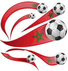 marocco flag set with soccer ball vector image