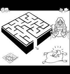 Maze activity game with cinderella vector