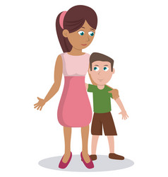 mom with her son lovely vector image