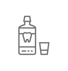 mouthwash mouth rinse dental care line icon vector image