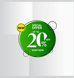 New discount label up to 20 special offer shop vector