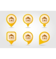 Pigsty flat mapping pin icon with long shadow vector