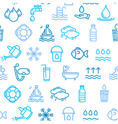 Pool and water signs seamless pattern background vector