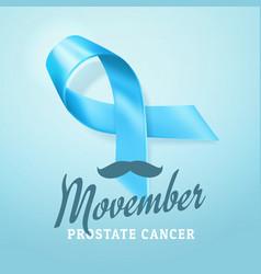 Prostate cancer awareness blue ribbon background vector