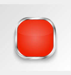 red glossy button or banner vector image