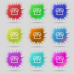 Retro telephone handset icon sign A set of nine vector