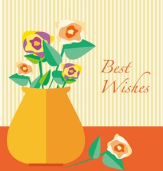 Retro vintage card best wishes vase with flowers vector