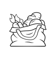Reusable produce bag inear icon vector