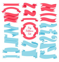 ribbons banners set of blue and red vector image