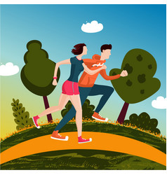 running couple people run in a park man and vector image